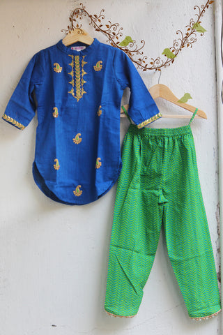 kidswear - blue gota kurti with green tulip pants