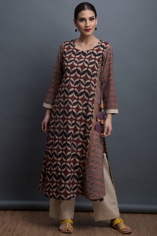 overlap anghrakha kurta - pearl drop & the coral reef