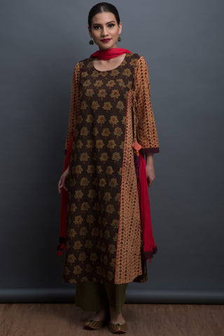 overlap anghrakha kurta - waltzing fish & the wild rose