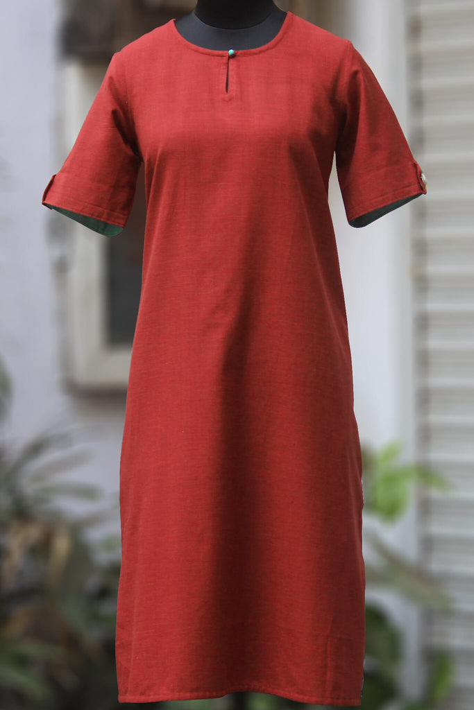 handwoven shift dress with pockets - marsala & coy rose