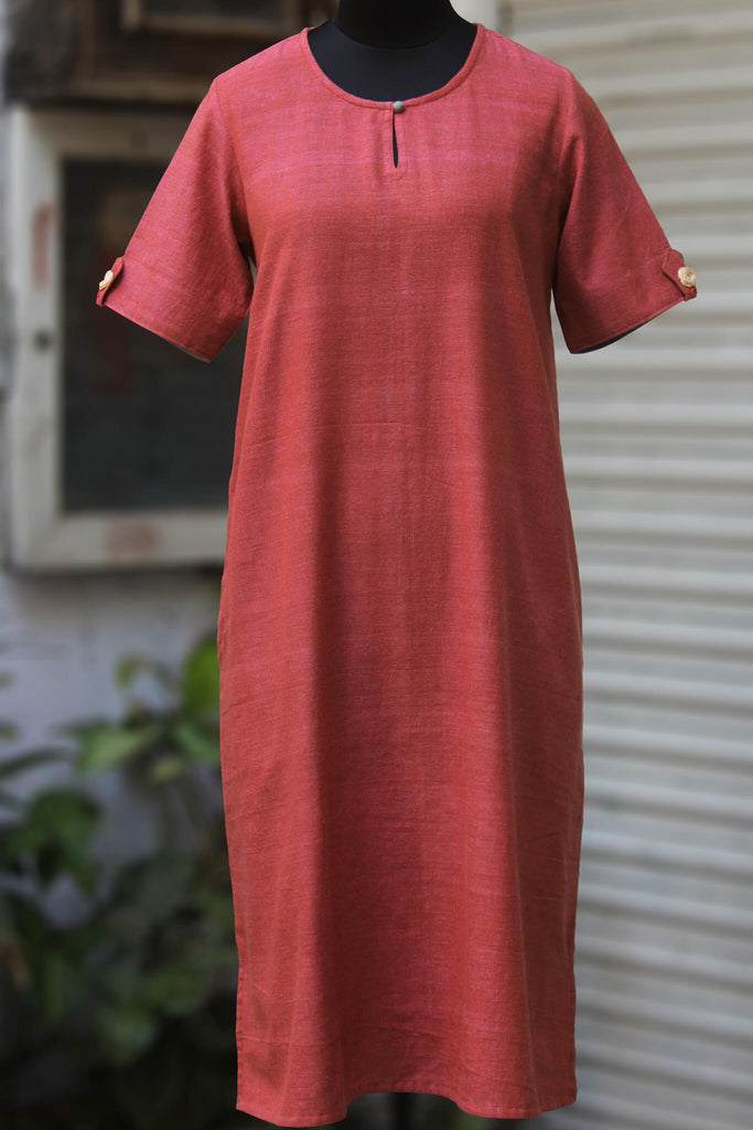 handwoven shift dress with pockets - flamingo & frost