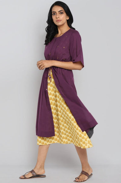 2 piece kaftan tie-up jacket - plum & canary