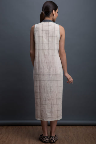straight line dress in kala cotton - grid & grey