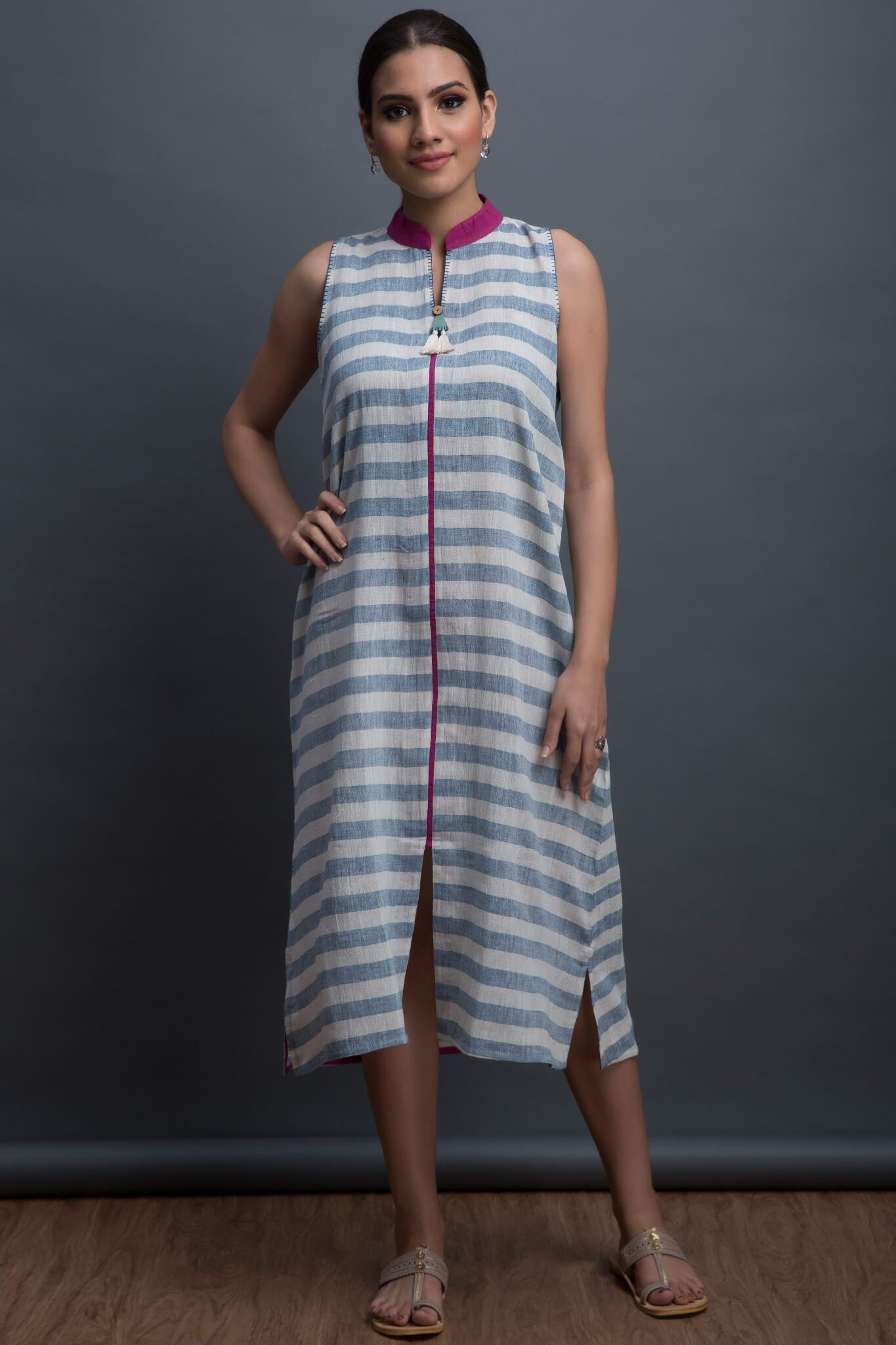 dress - indigo & stripes