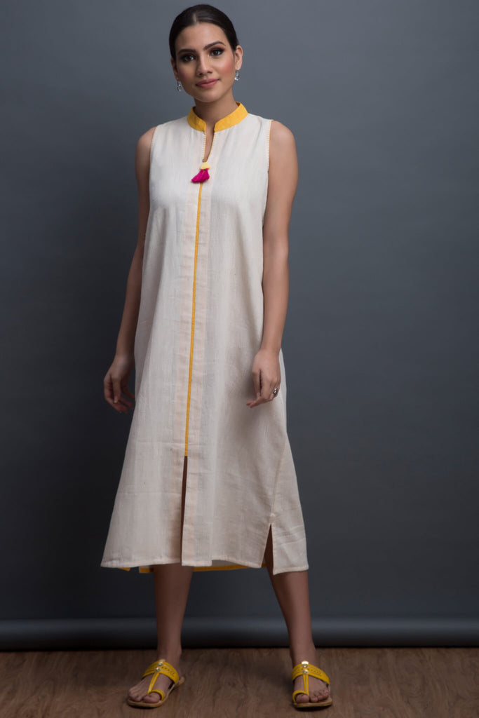 straight line dress in kala cotton - ivory & topaz