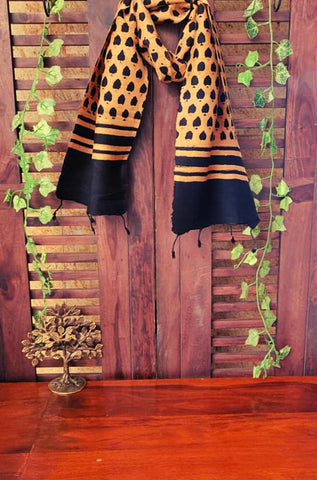 abstract ajrakh scarf - gold rush & brown leaf