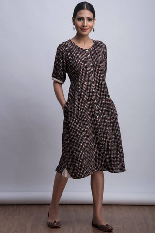 modal midi dress - chalk & checker