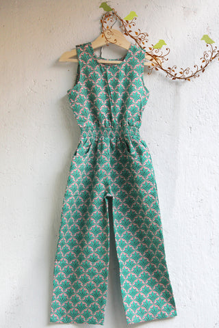 kidswear - green long jumpsuit