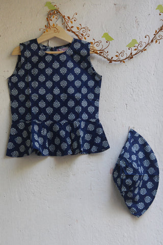 kidswear - blue peplum top with hat