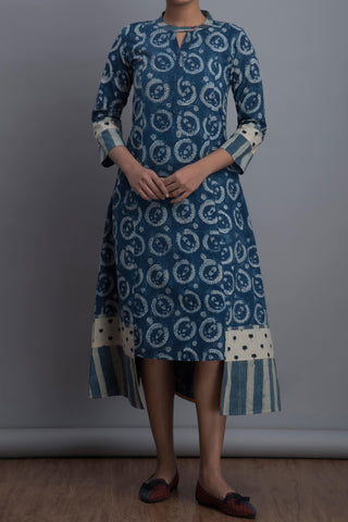 step dress - indigo ripples & mini lotus