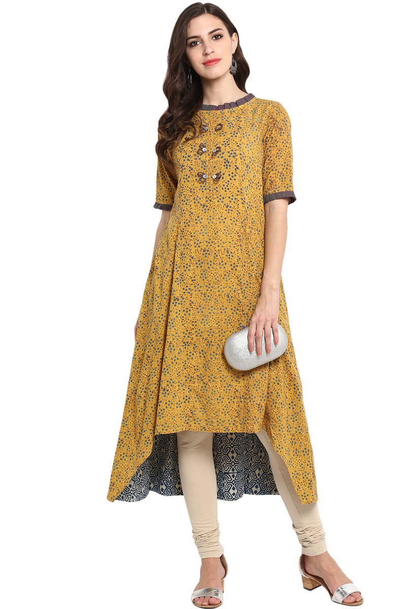 YELLOW INDIGO AJRAKH ASYMMETRICAL DRESS MINI PLEATED ROUND NECK