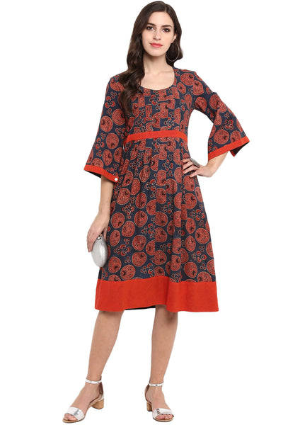 red indigo ajrakh midi dress with slit sleeves and belt