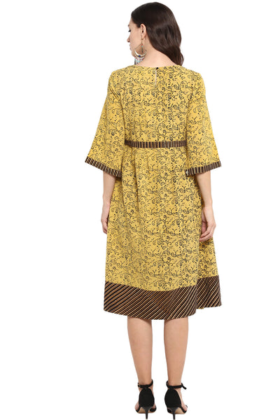 MIDI DRESS WITH BELT AND SLIT SLEEVES - TAXI NUMBER NAU DO GYARAH