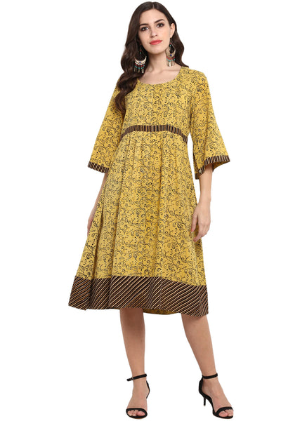 yellow ajrakh midi dress with slit sleeves and belt