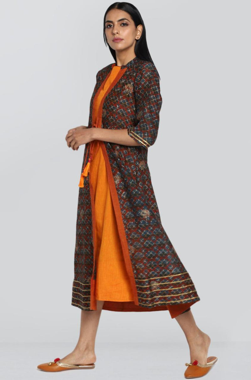 2 layer chanderi jacket & dress - indigo & tangerine
