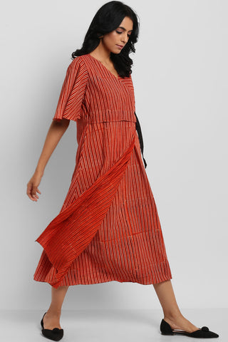 cotton wrap dress - sunset orange & kohl stripes