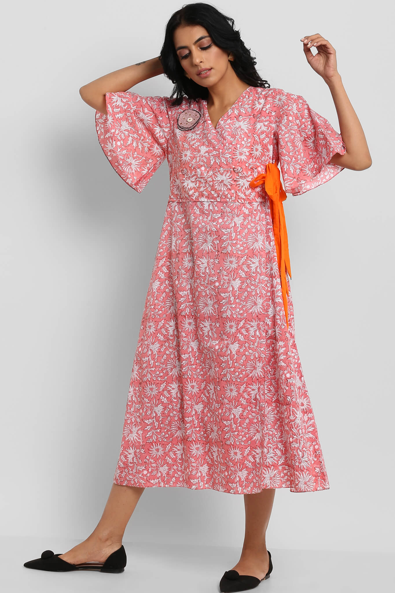 cotton wrap dress - carnation pink & jaal