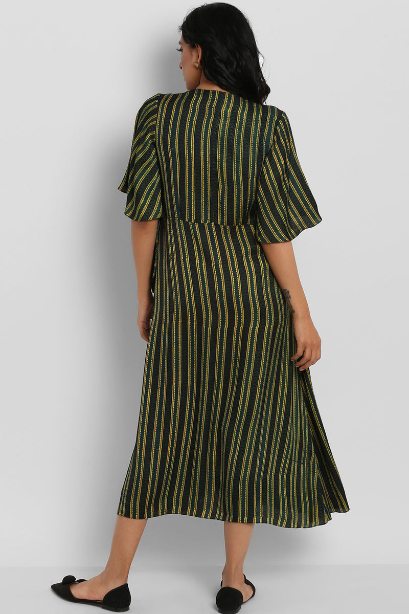 AJRAKH MODAL WRAP DRESS - EMERALD & STRIPES