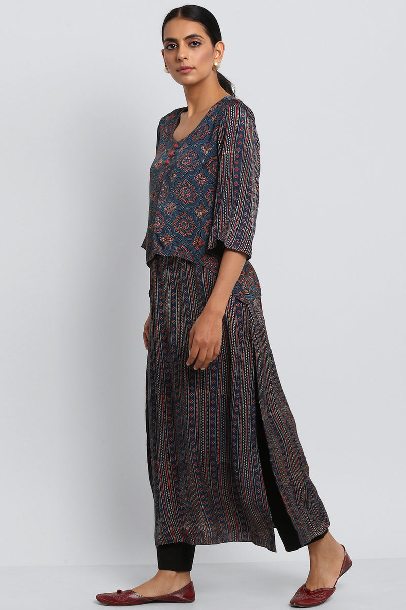 LONG KURTA - INDIGO MADDER KURTA WITH MOCK JACKET