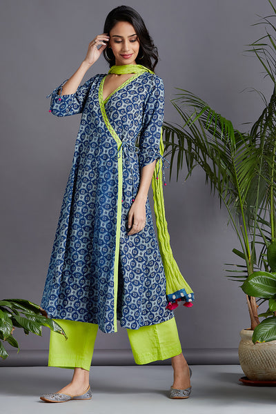 angrakha kurta & trousers - indigo stepwell & dash of lime
