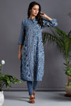 button down kurta - enchanted blues & celestial sky