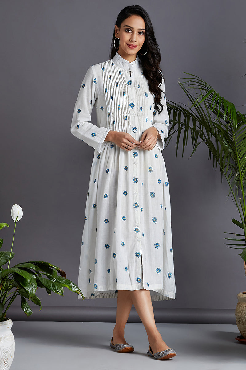 pintuck dress - peri winkle & serene waters