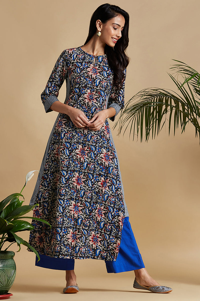 kurta with a side twist - midnight bloom & orchid garden
