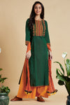 long kurta - forest greens & mandarin yoke