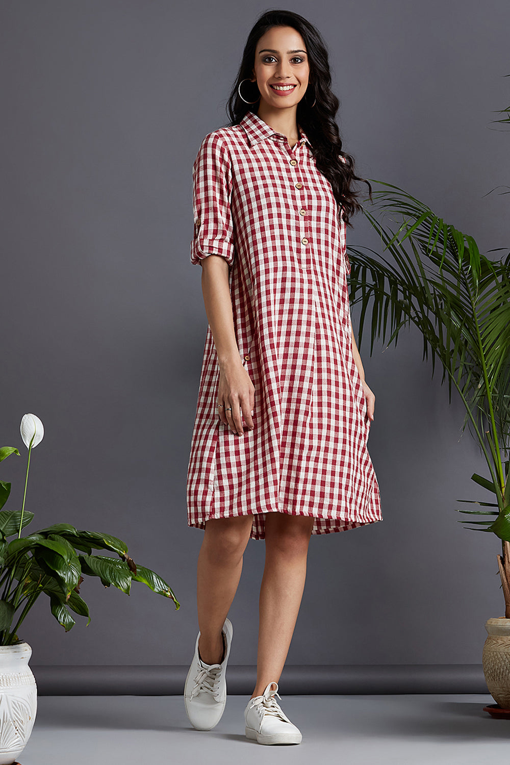 shirt dress - madder mix & chequered love