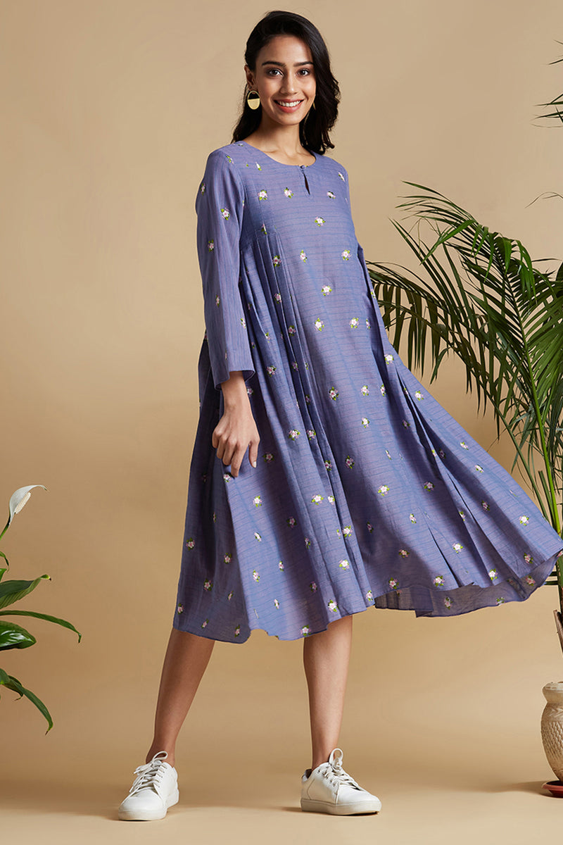 box pleated swing dress - botanical & lavender fields