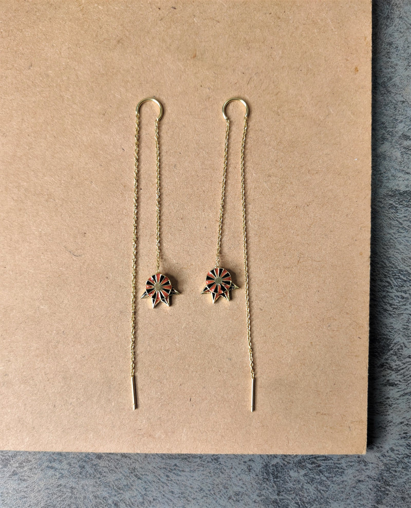 jewelry - berserk - Gold Plated Marsala Long Drop Earrings