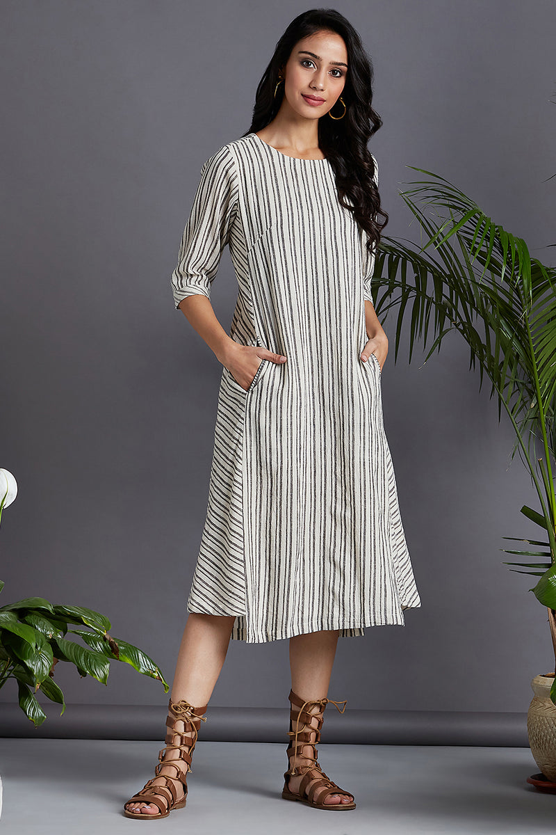 side bias pocket dress - monochrome & evening shadows