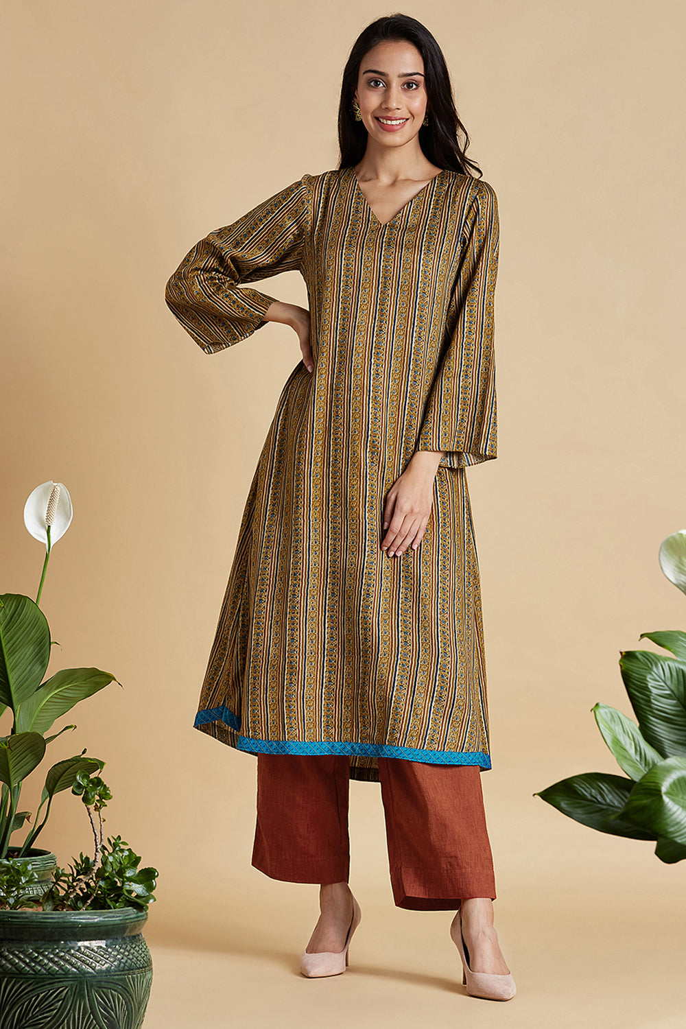 a-line kurta - classic gold & tinge of blue