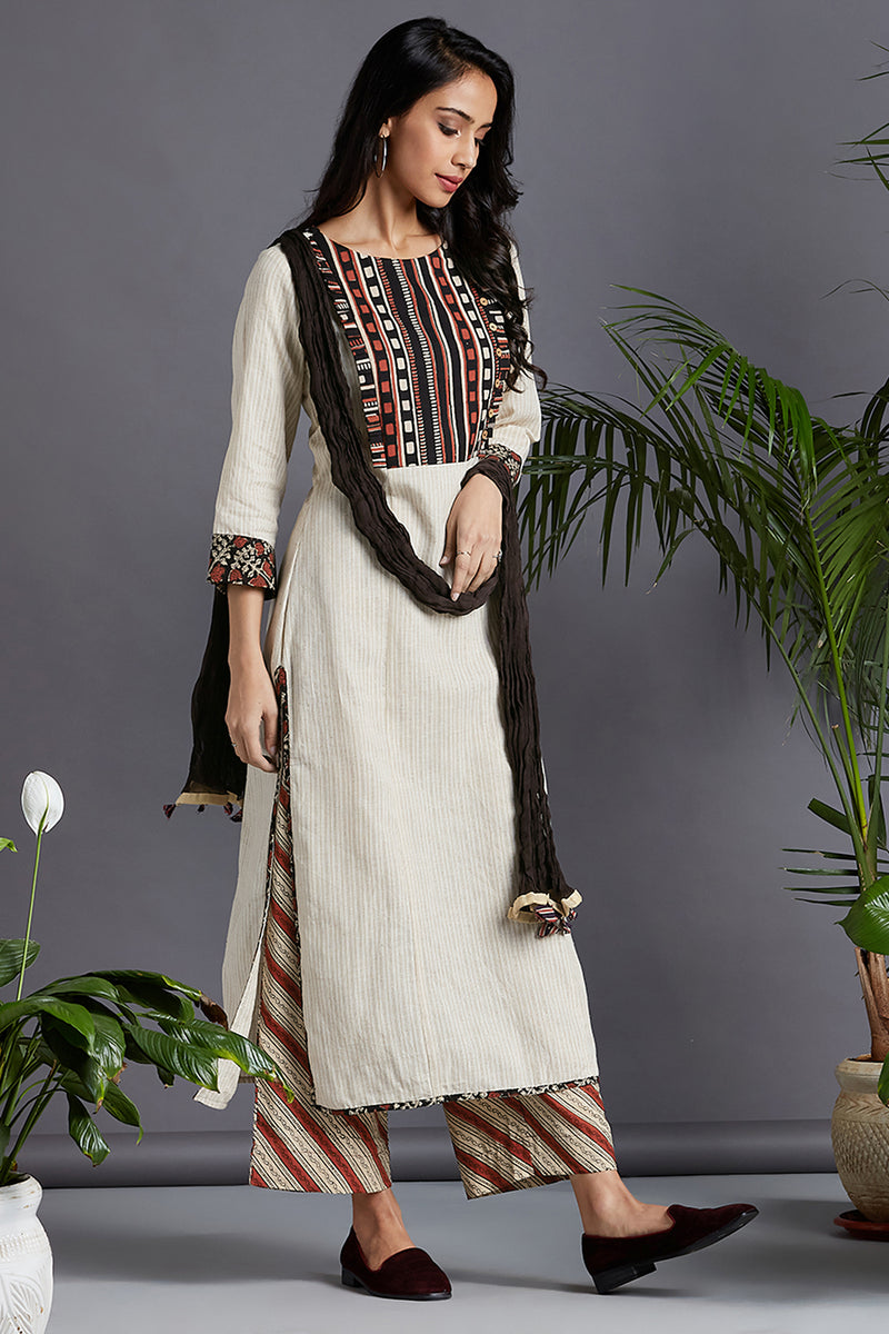 long kurta - ivory gold & madder whispers