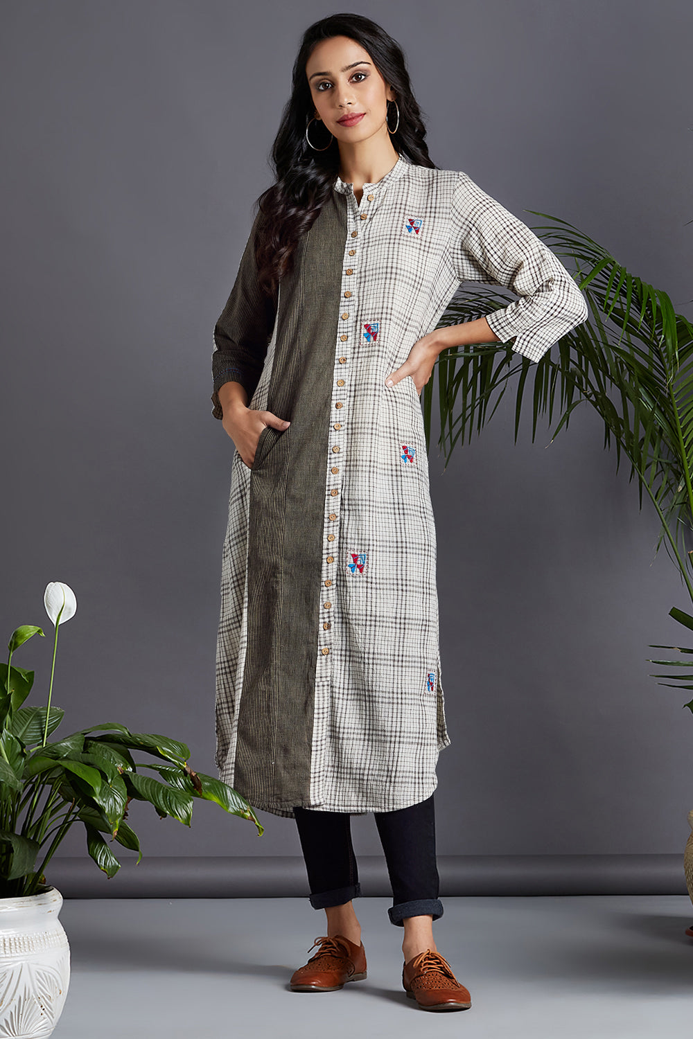 button down kurta - ebony & new hopes