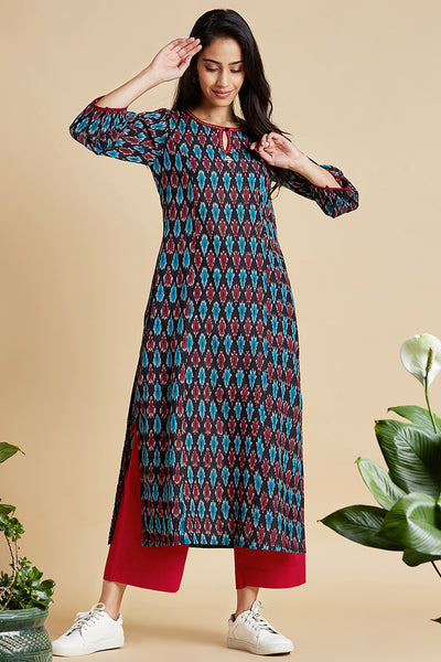 long kurta  - midnight mood & ikat bloom