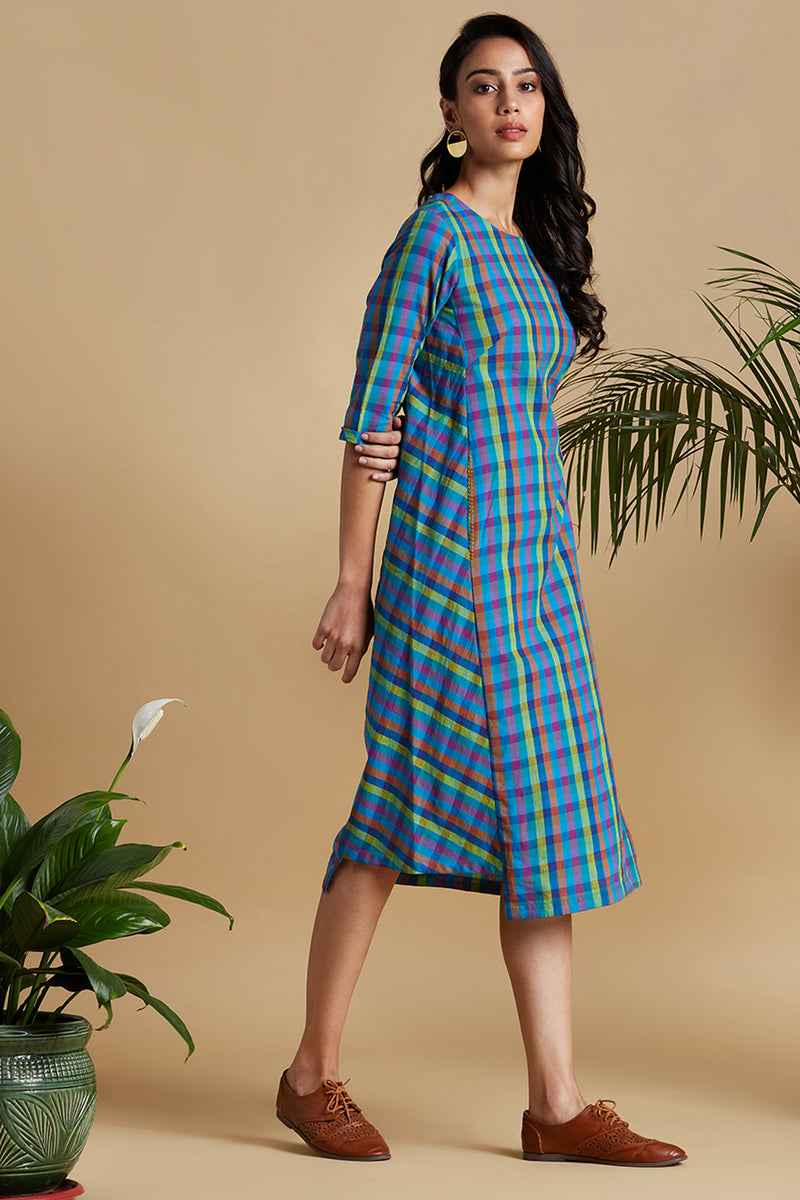 side bias pocket dress - colour splash & play of checks