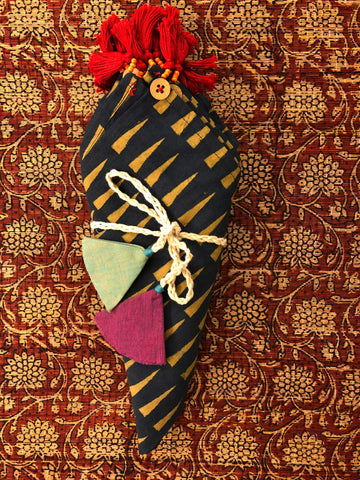 dinner napkins - indigo yellow triangle & red tassels