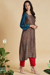 square neck kurta with pleated sleeve - indigo & madder rhymes