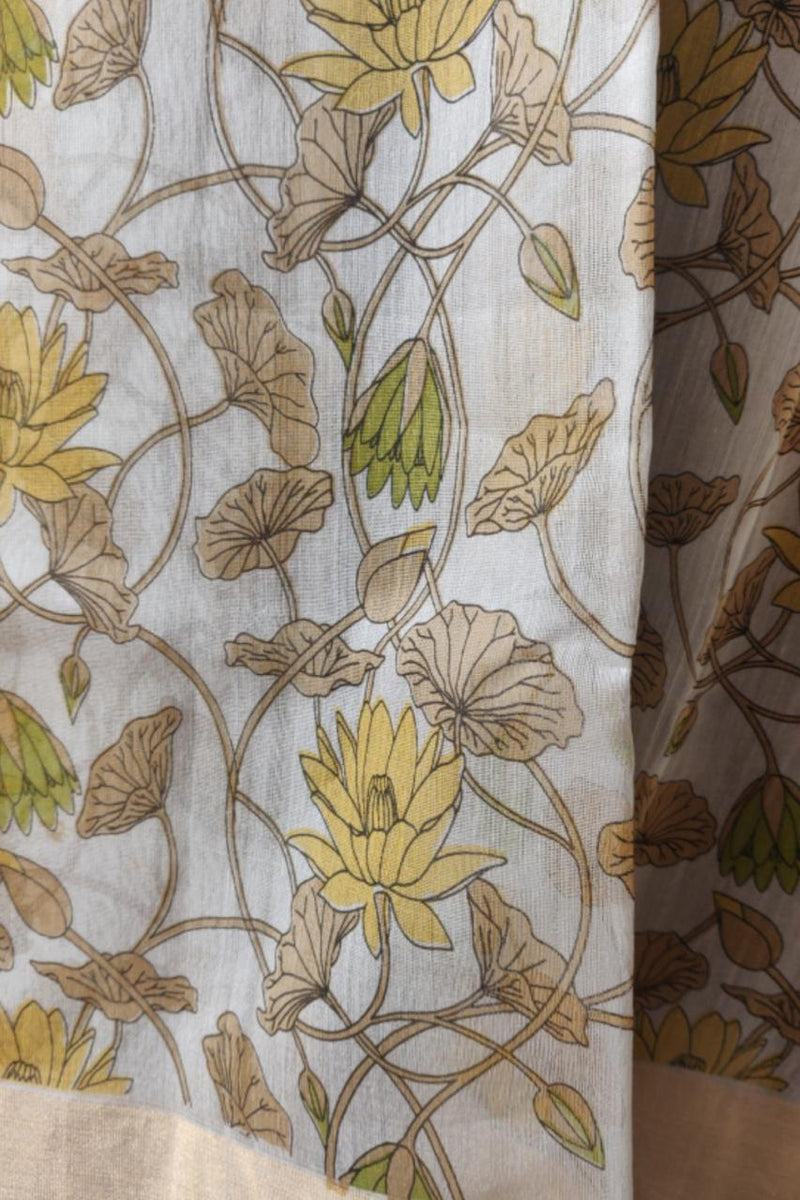 handwoven chanderi saree - lotus pond & blooms