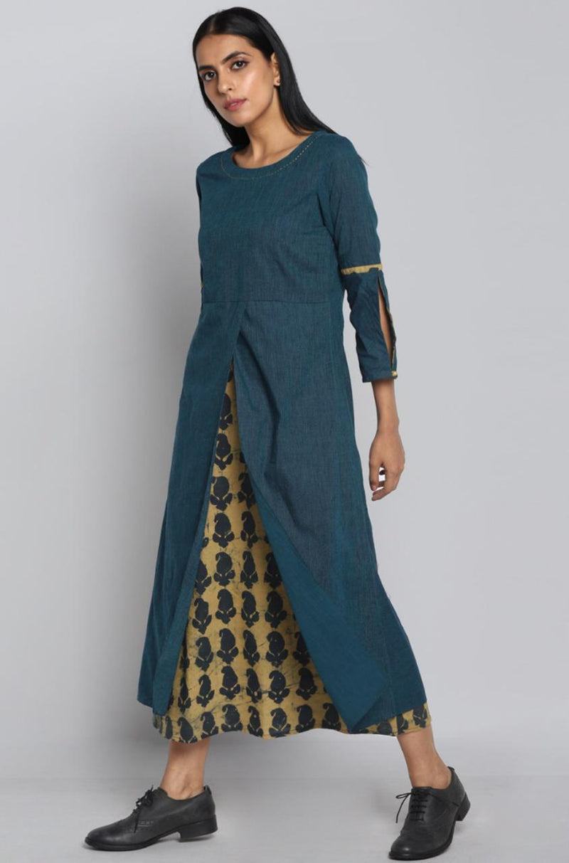 overlap dress - teal & paisleys