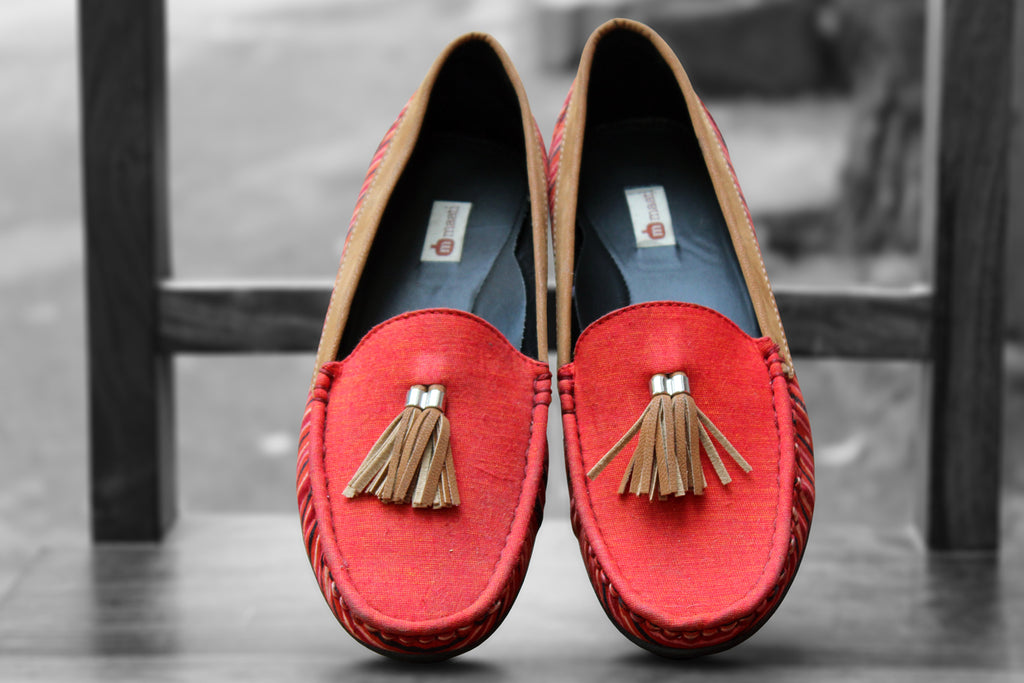 handcrafted footwear - sunset orange & tassel loafers