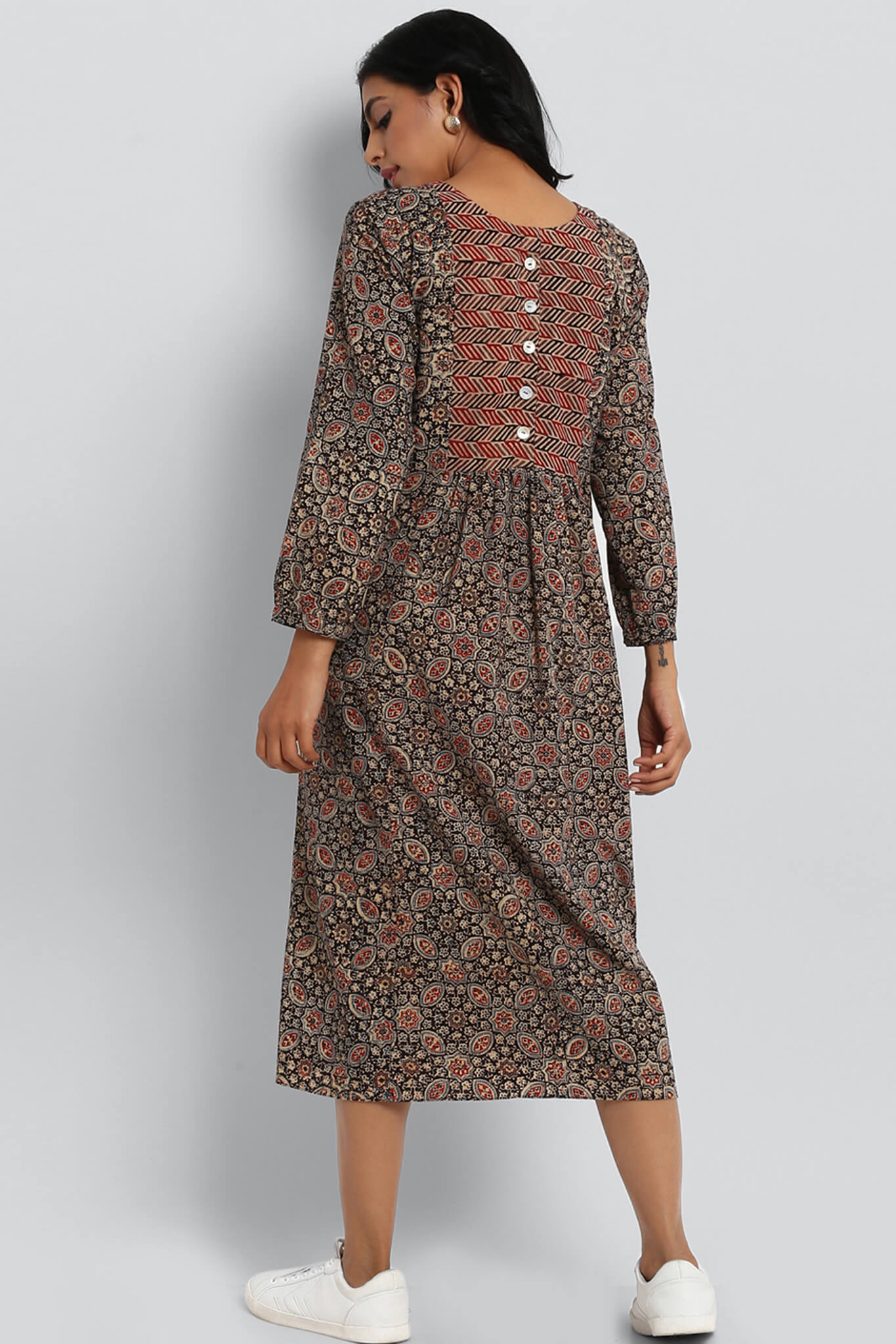 gather dress with back button  - madder red & champakali