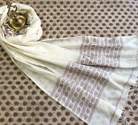 jamdani muslin stole - cream & coffee rays