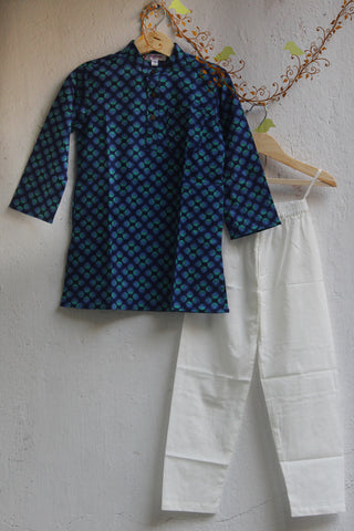 kidswear - blue coined kurta with pajama