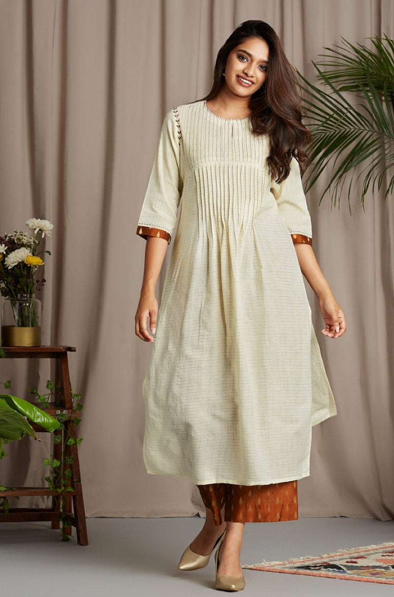 pintuck kurta - enchanting ivory & copper flicker