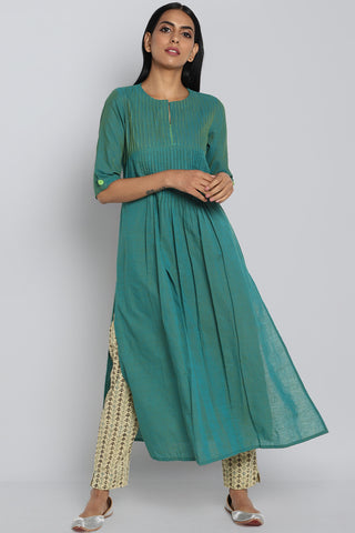 pintuck mangalgiri kurta - sea green & rose