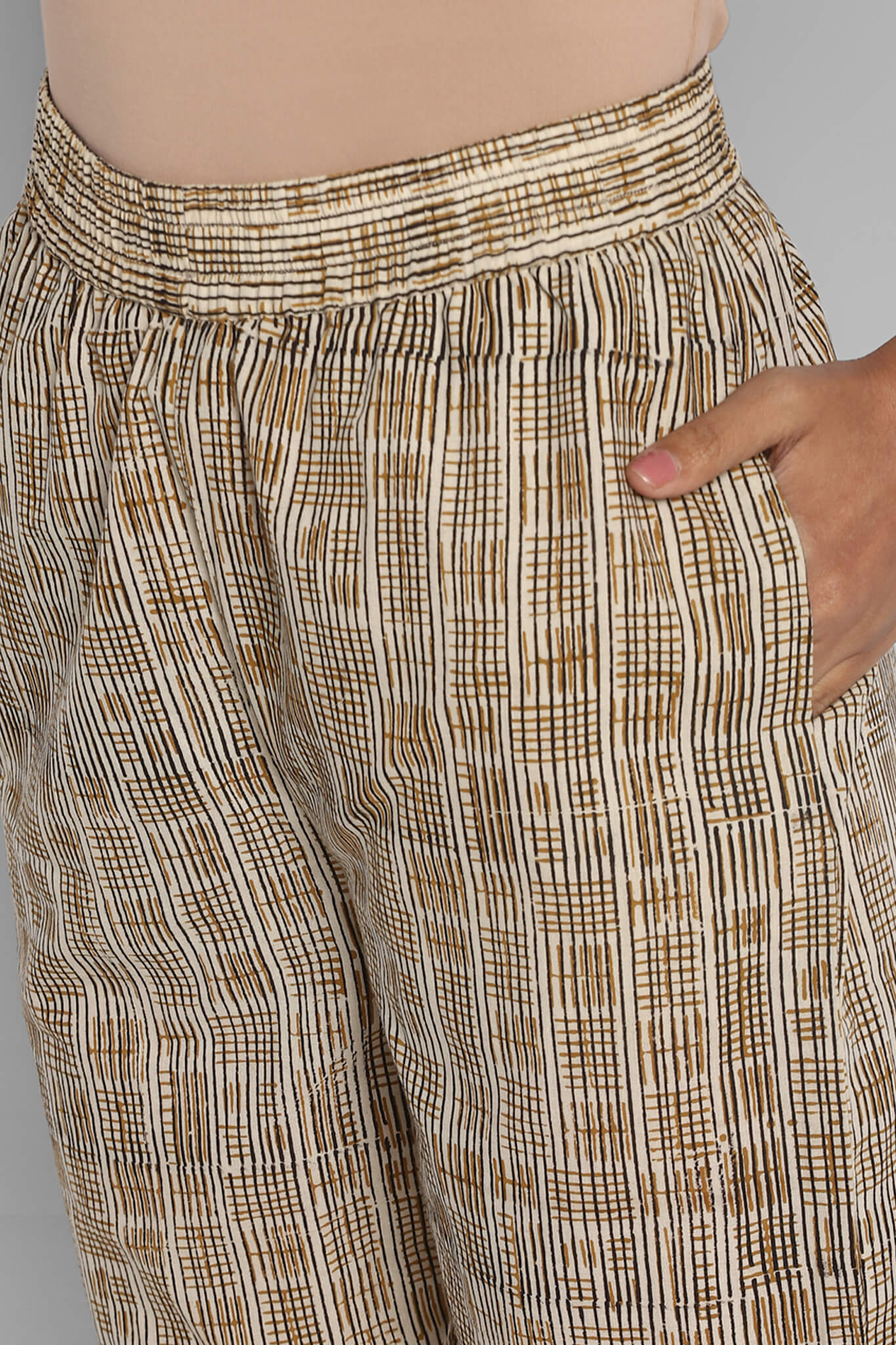 Elasticated Printed Narrow Trouser - Beige & Checkers
