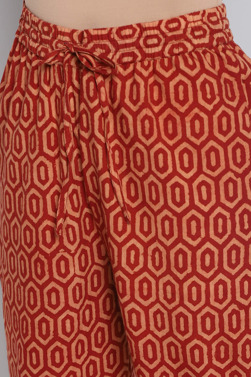 printed elasticated pants - terracotta brick & red grid