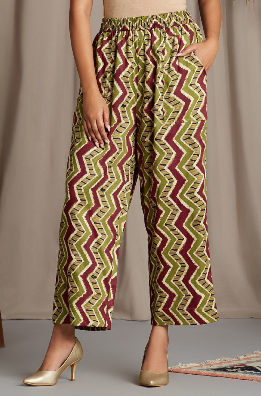 comfort fit cotton pants - red green chevron